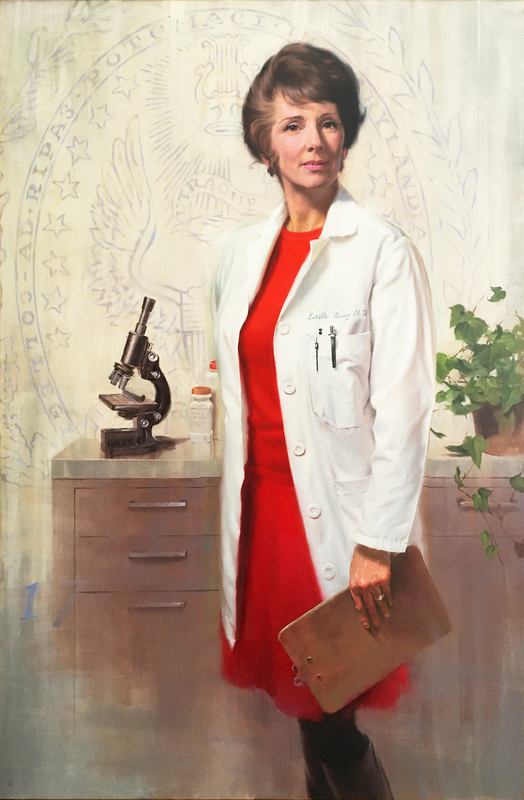 "Portrait of Estelle Ramey, PhD. Oil on canvas, 52"" x 34"" painted by award-winning Washington, D.C., portrait artist Gavin Glakas."
